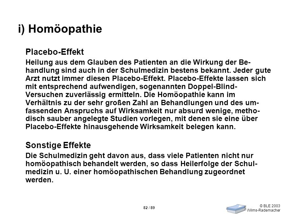 i) Homöopathie Placebo-Effekt Sonstige Effekte