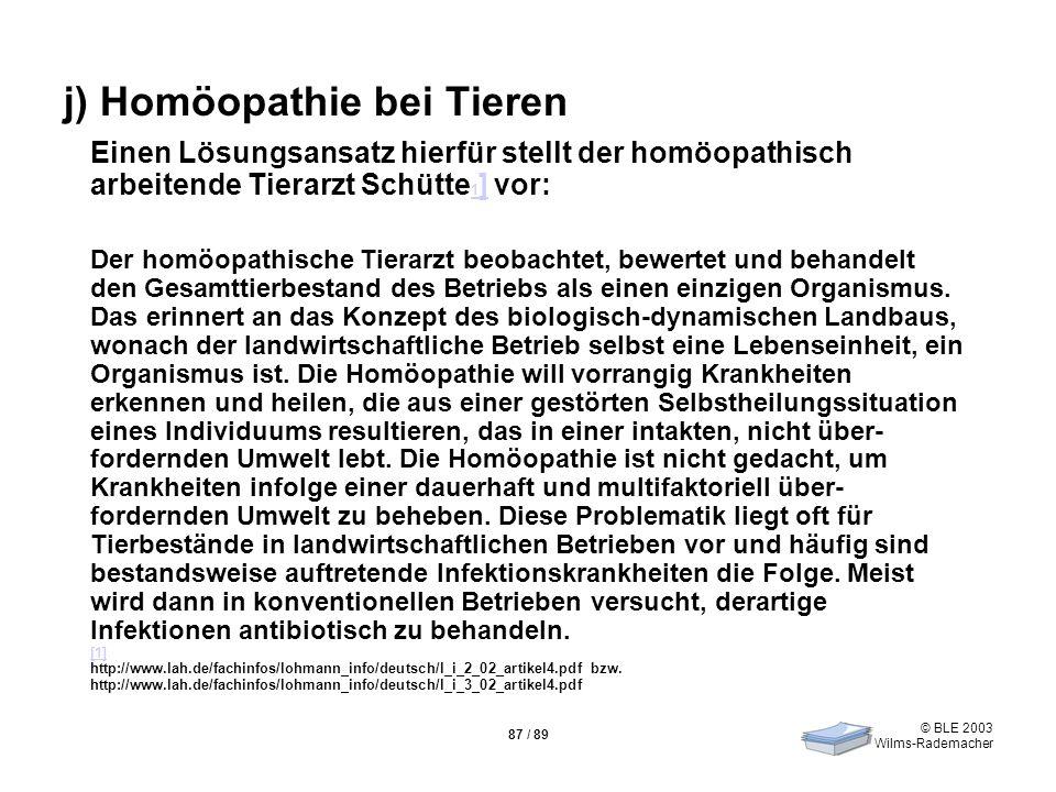 j) Homöopathie bei Tieren