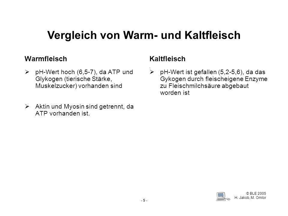 Vergleich von Warm- und Kaltfleisch