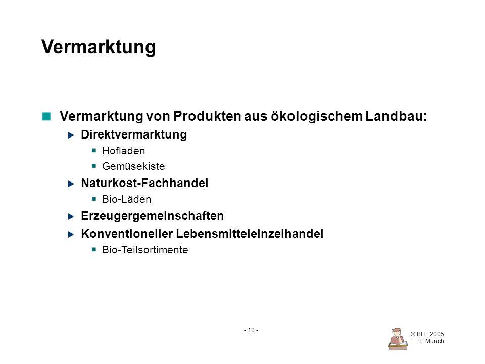Vermarktung Vermarktung von Produkten aus ökologischem Landbau: