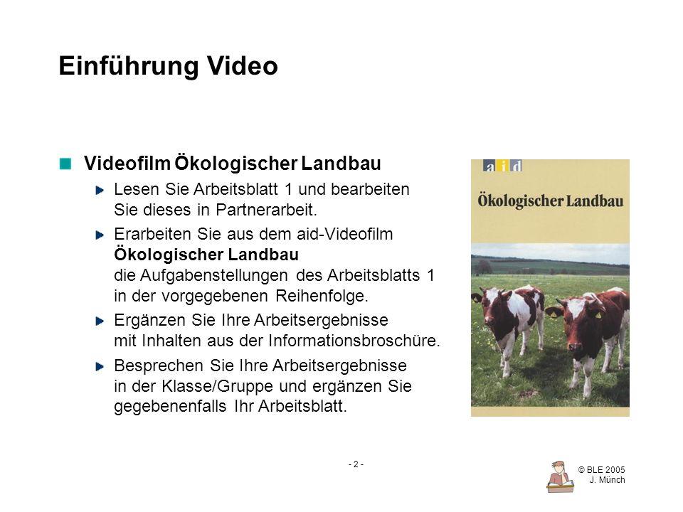 Einführung Video Videofilm Ökologischer Landbau