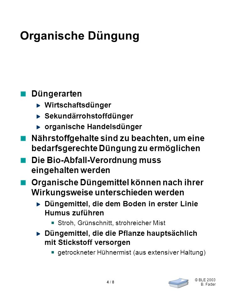 Organische Düngung Düngerarten