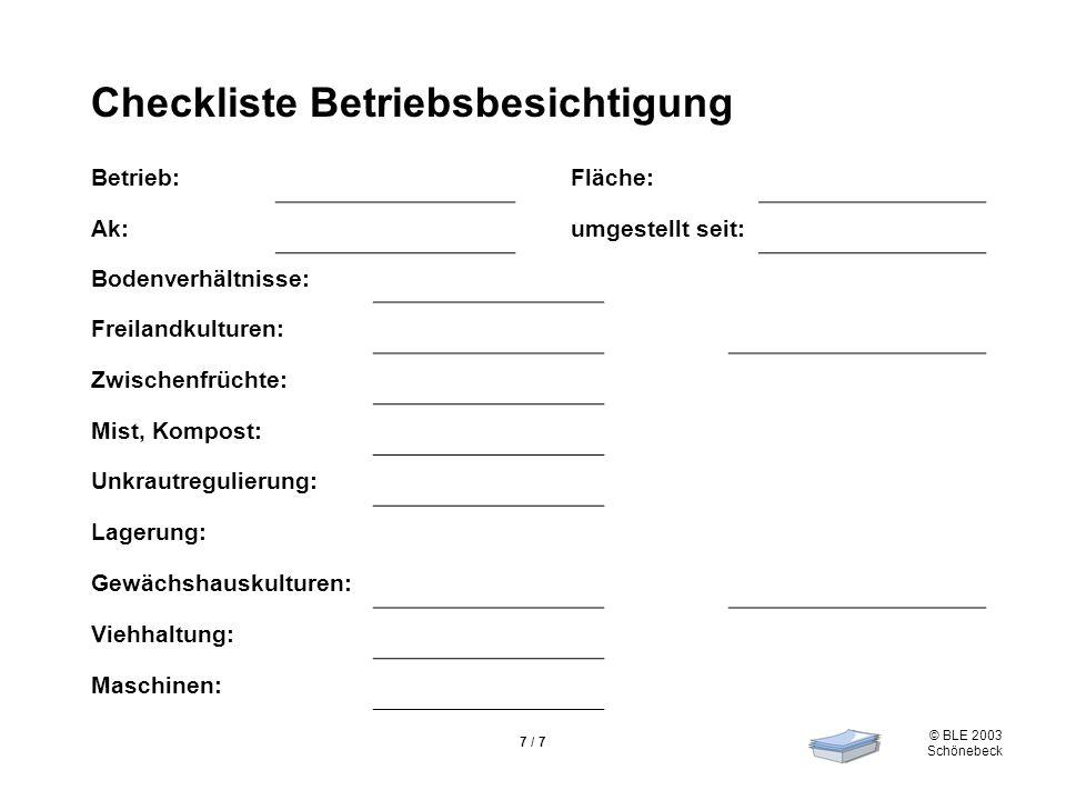 Checkliste Betriebsbesichtigung