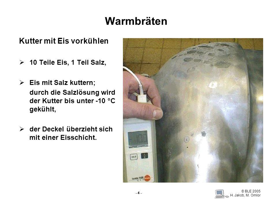 Warmbräten Kutter mit Eis vorkühlen 10 Teile Eis, 1 Teil Salz,