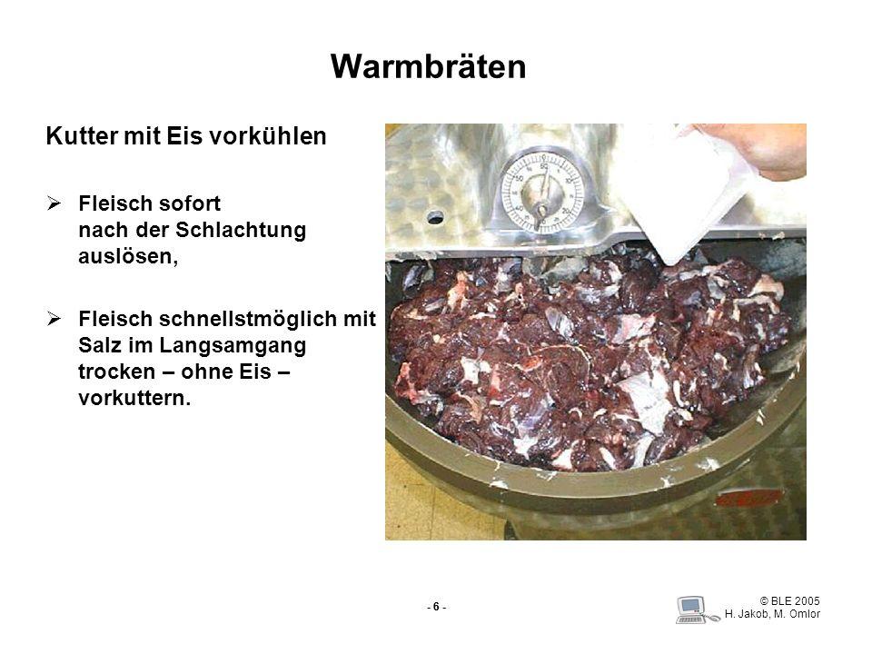 Warmbräten Kutter mit Eis vorkühlen