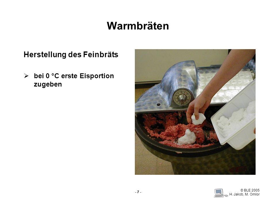 Warmbräten Herstellung des Feinbräts bei 0 °C erste Eisportion zugeben