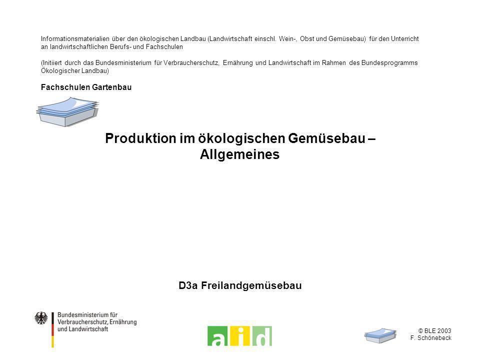 Produktion im ökologischen Gemüsebau – Allgemeines