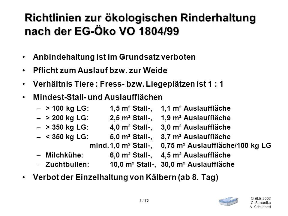 Richtlinien zur ökologischen Rinderhaltung nach der EG-Öko VO 1804/99