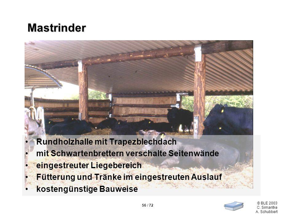 Mastrinder Rundholzhalle mit Trapezblechdach