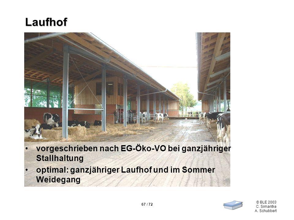 Laufhof vorgeschrieben nach EG-Öko-VO bei ganzjähriger Stallhaltung