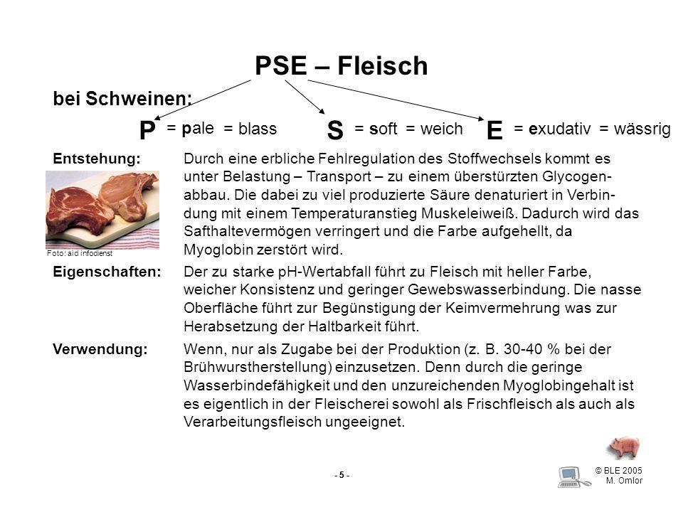 PSE – Fleisch P S E bei Schweinen: = pale = blass = soft = weich