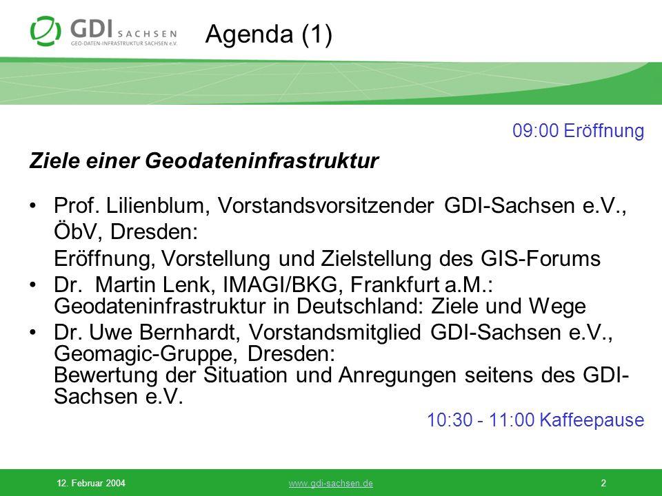 Agenda (1) Ziele einer Geodateninfrastruktur