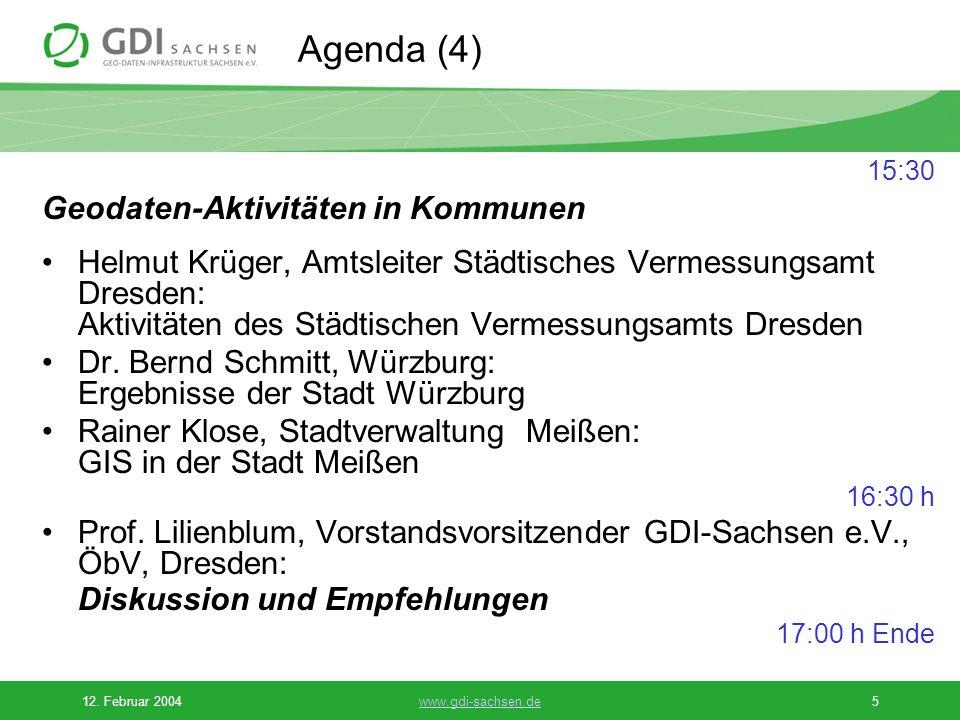 Agenda (4) Geodaten-Aktivitäten in Kommunen
