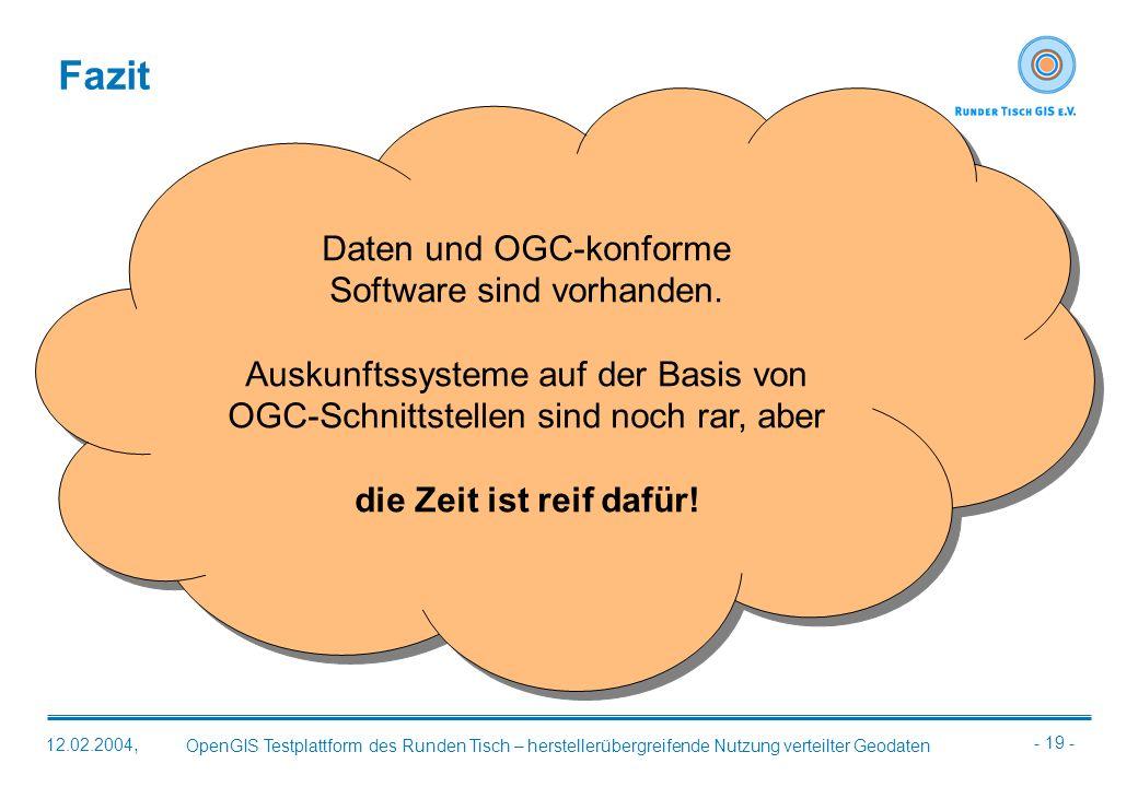 Fazit Daten und OGC-konforme Software sind vorhanden.