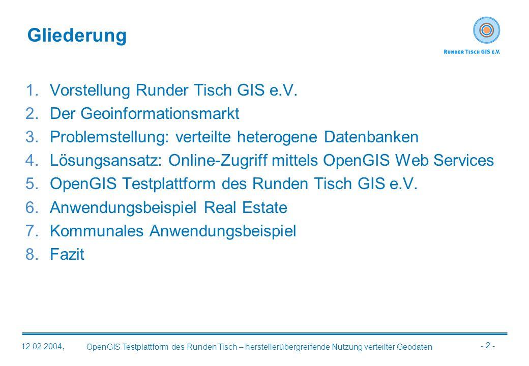 Gliederung Vorstellung Runder Tisch GIS e.V. Der Geoinformationsmarkt