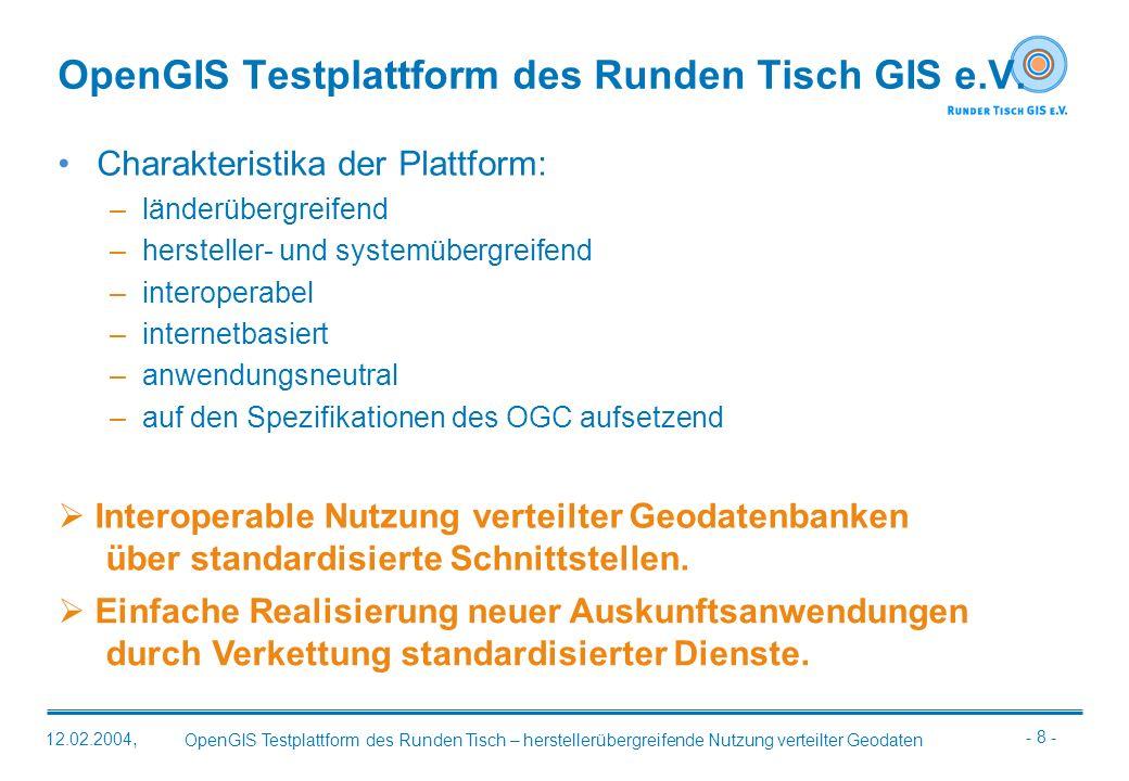 OpenGIS Testplattform des Runden Tisch GIS e.V.