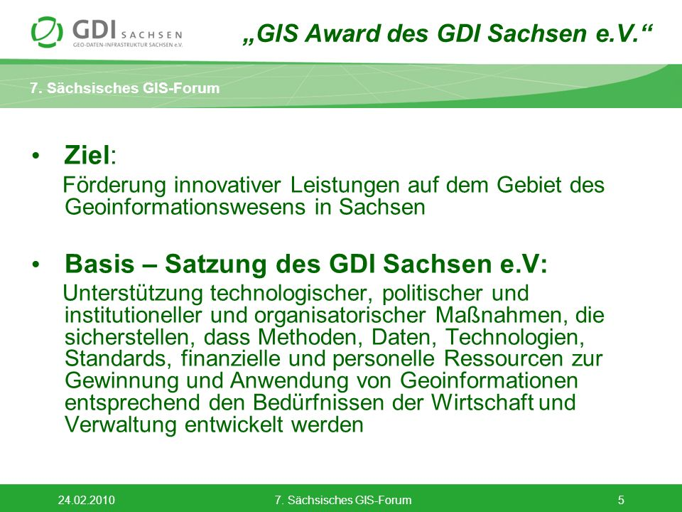 """""""GIS Award des GDI Sachsen e.V."""