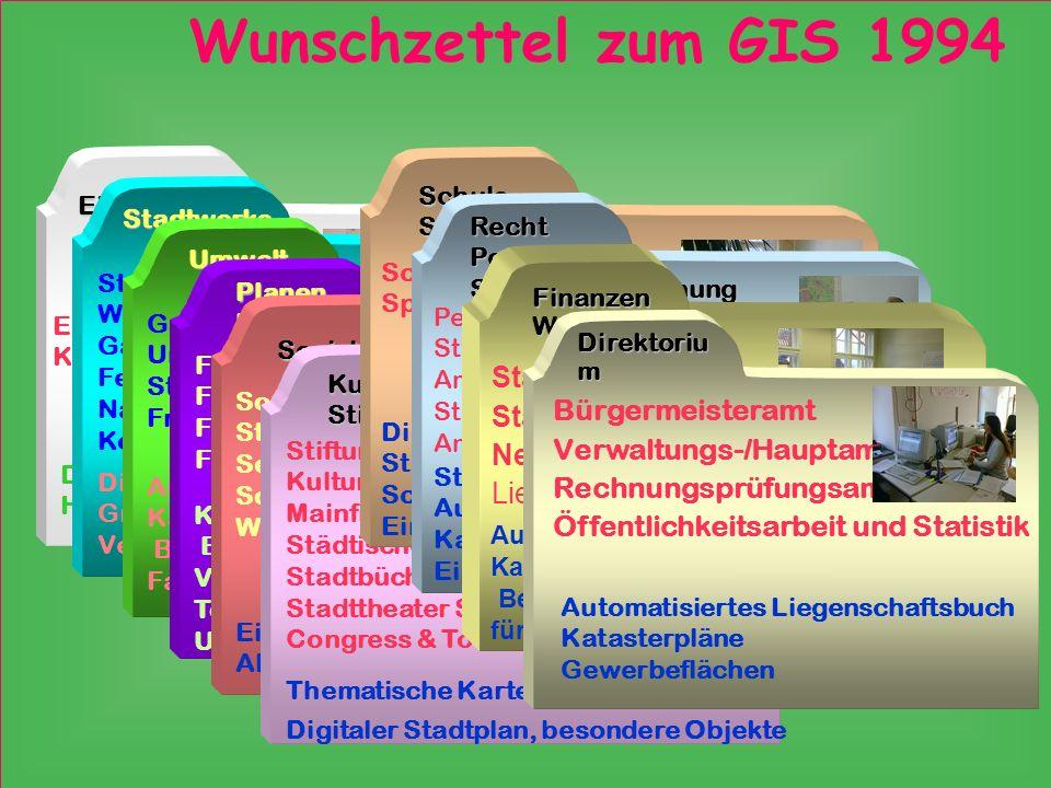Wunschzettel zum GIS 1994 Stadtkämmerei Stadtkasse Bürgermeisteramt