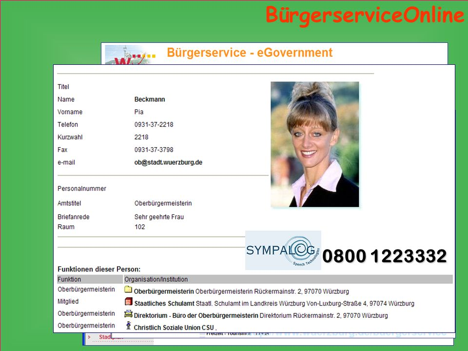 BürgerserviceOnline Lebenslagen Suchkette 0800 1223332