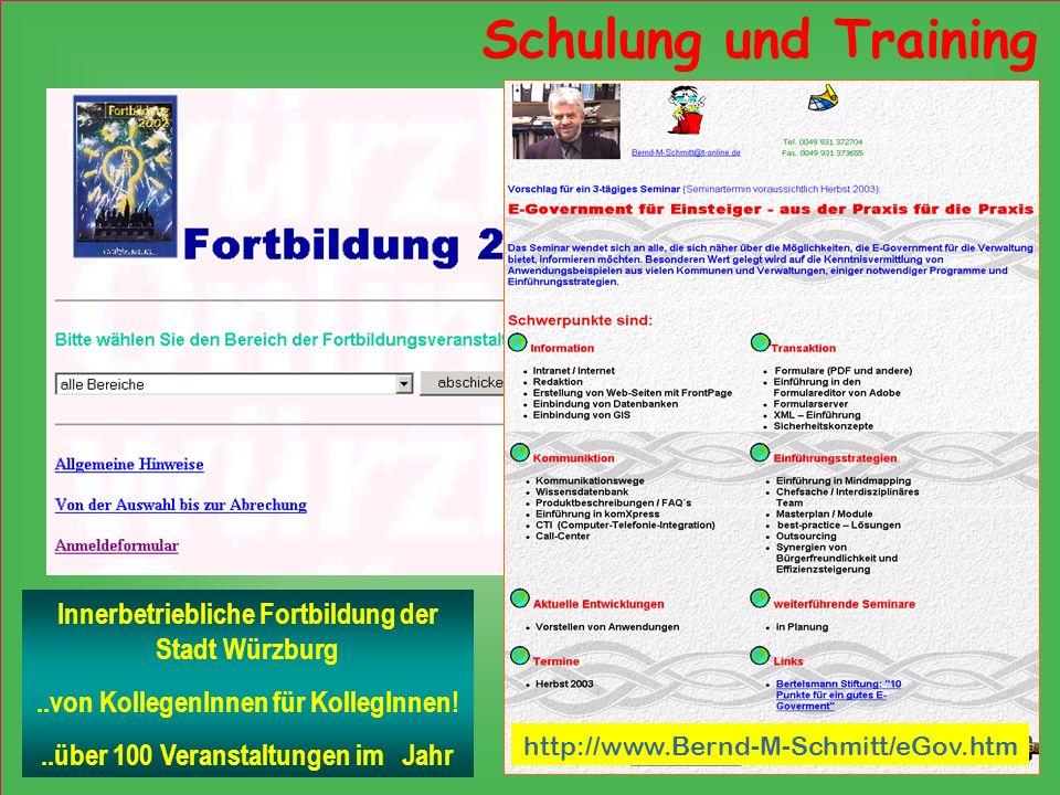 Schulung und Training Innerbetriebliche Fortbildung der Stadt Würzburg