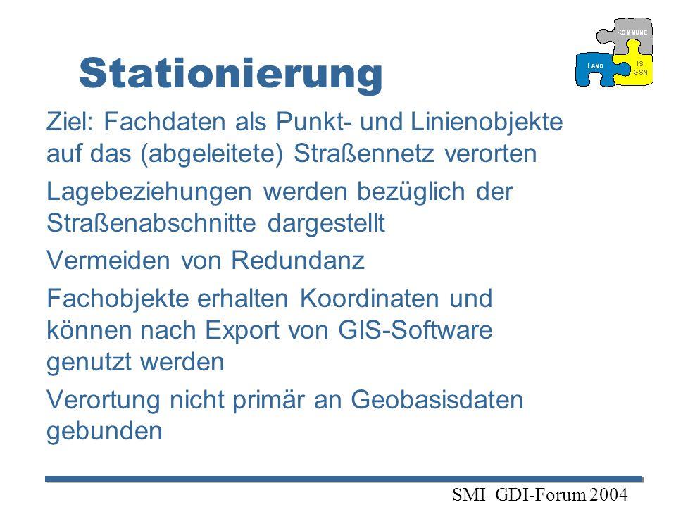 Stationierung Ziel: Fachdaten als Punkt- und Linienobjekte auf das (abgeleitete) Straßennetz verorten.