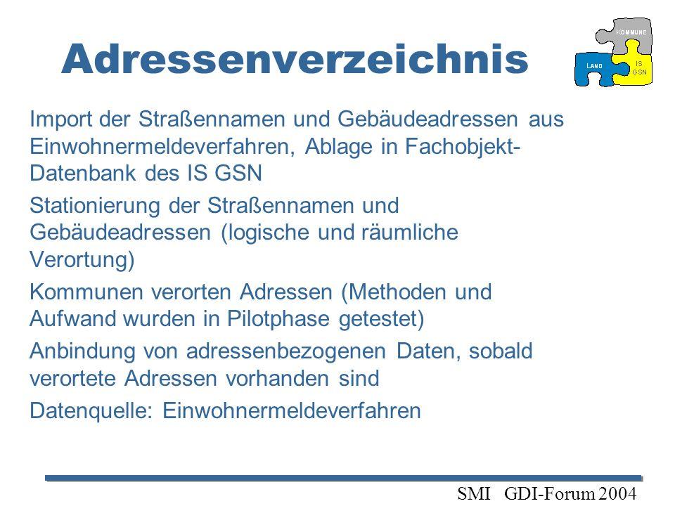 Adressenverzeichnis Import der Straßennamen und Gebäudeadressen aus Einwohnermeldeverfahren, Ablage in Fachobjekt-Datenbank des IS GSN.