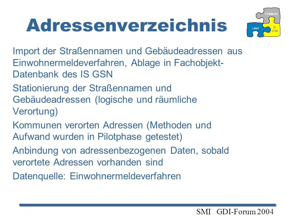 AdressenverzeichnisImport der Straßennamen und Gebäudeadressen aus Einwohnermeldeverfahren, Ablage in Fachobjekt-Datenbank des IS GSN.
