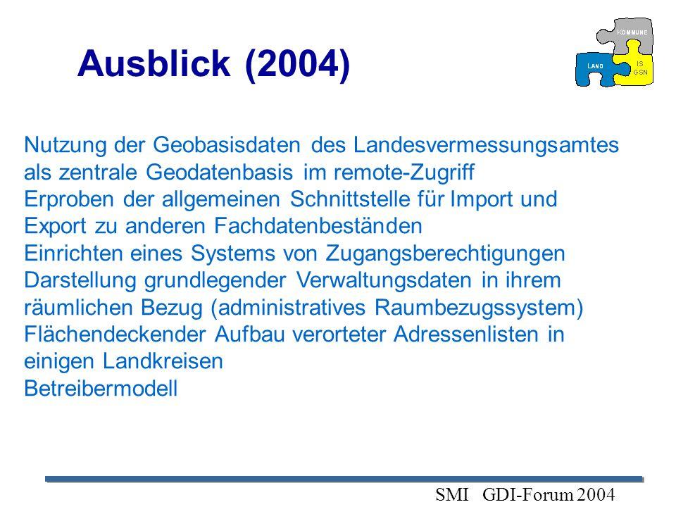 Ausblick (2004)Nutzung der Geobasisdaten des Landesvermessungsamtes als zentrale Geodatenbasis im remote-Zugriff.