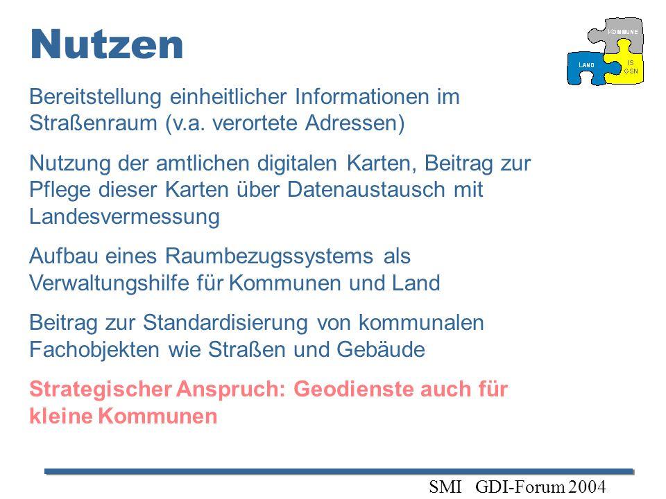 Nutzen Bereitstellung einheitlicher Informationen im Straßenraum (v.a. verortete Adressen)