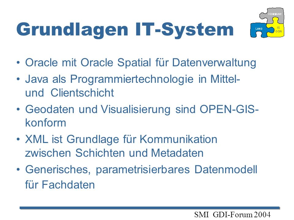 Grundlagen IT-System Oracle mit Oracle Spatial für Datenverwaltung
