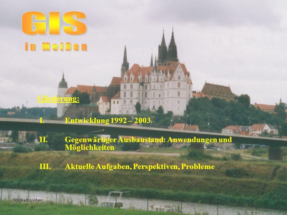 GIS Gliederung: Entwicklung 1992 – 2003