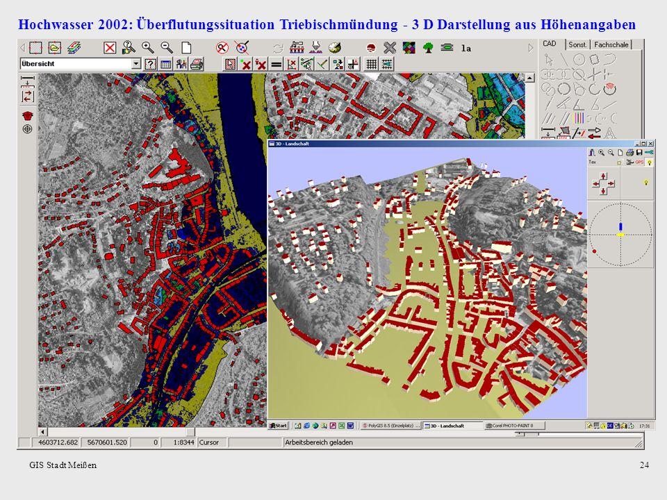 Hochwasser 2002: Überflutungssituation Triebischmündung - 3 D Darstellung aus Höhenangaben