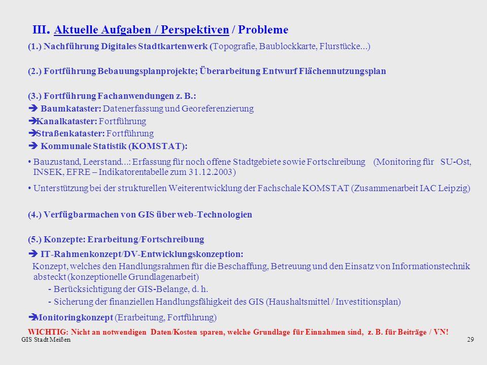 III. Aktuelle Aufgaben / Perspektiven / Probleme