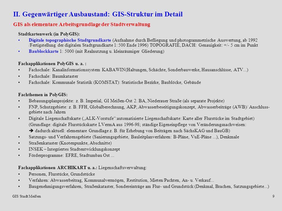 II. Gegenwärtiger Ausbaustand: GIS-Struktur im Detail
