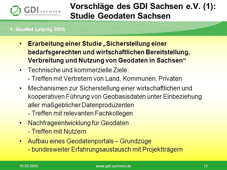 Vorschläge des GDI Sachsen e.V. (1): Studie Geodaten Sachsen