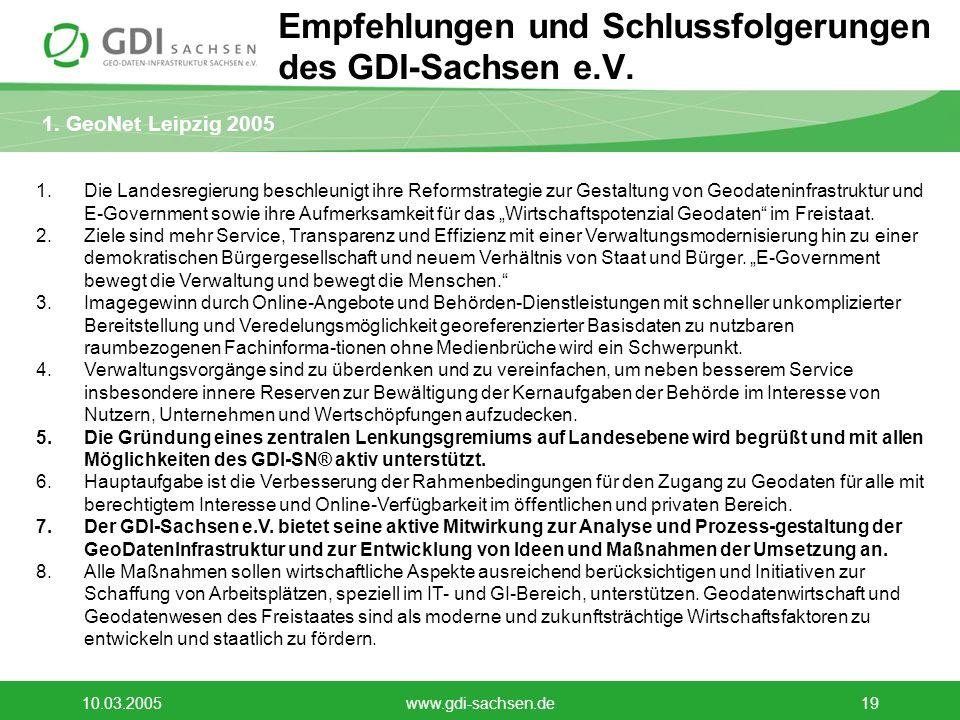 Empfehlungen und Schlussfolgerungen des GDI-Sachsen e.V.