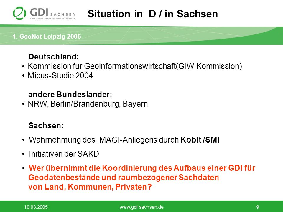 Situation in D / in Sachsen