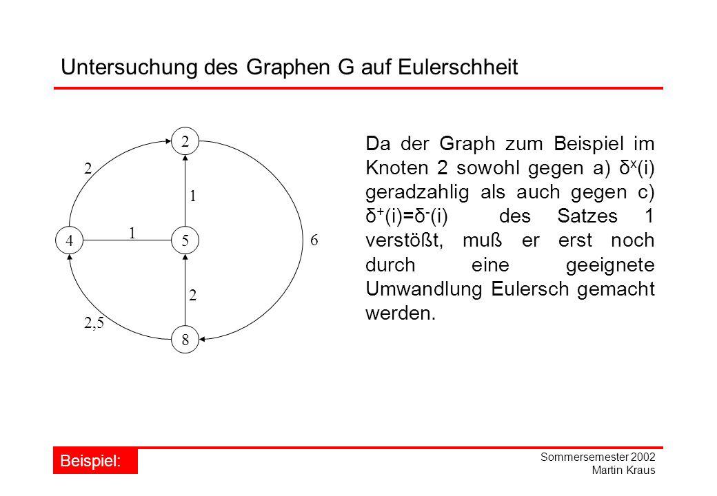 Untersuchung des Graphen G auf Eulerschheit