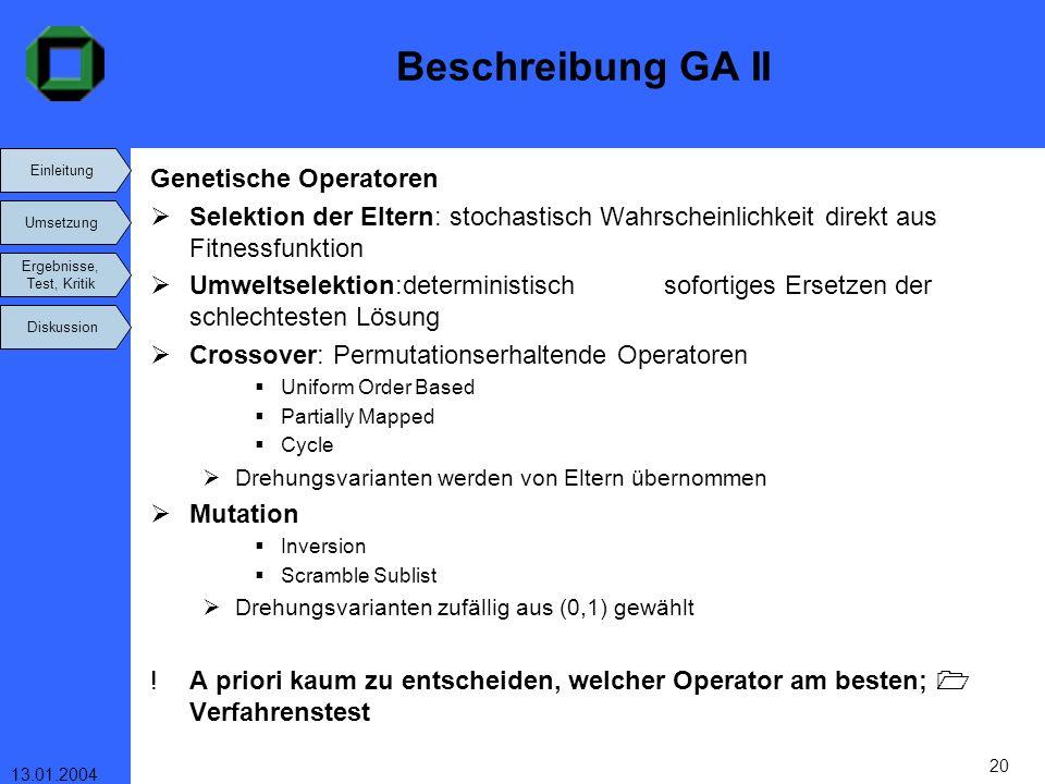Beschreibung GA II Genetische Operatoren