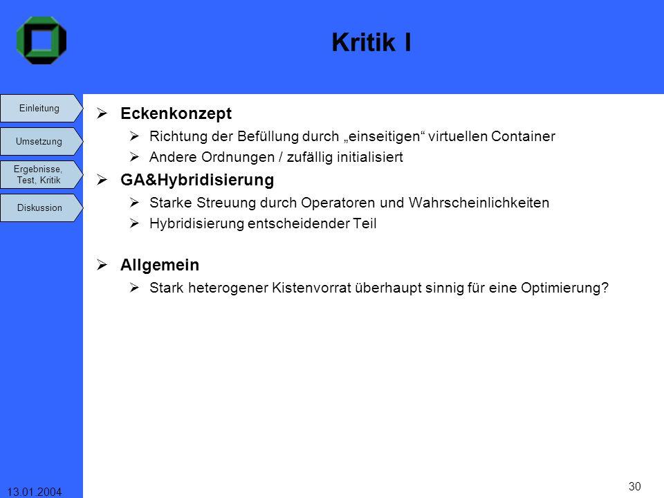 Kritik I Eckenkonzept GA&Hybridisierung Allgemein