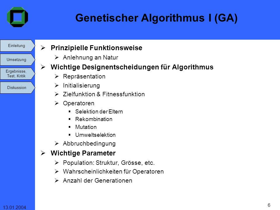 Genetischer Algorithmus I (GA)