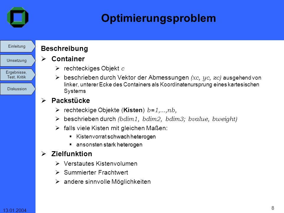 Optimierungsproblem Beschreibung Container Packstücke Zielfunktion