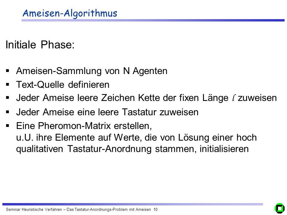 Initiale Phase: Ameisen-Algorithmus Ameisen-Sammlung von N Agenten