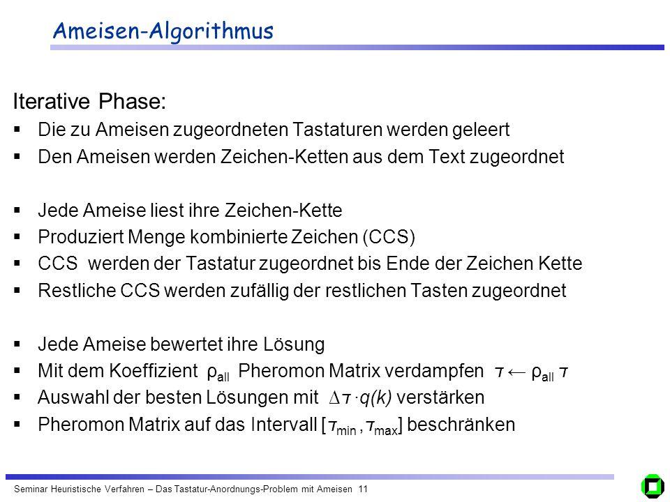Ameisen-Algorithmus Iterative Phase: