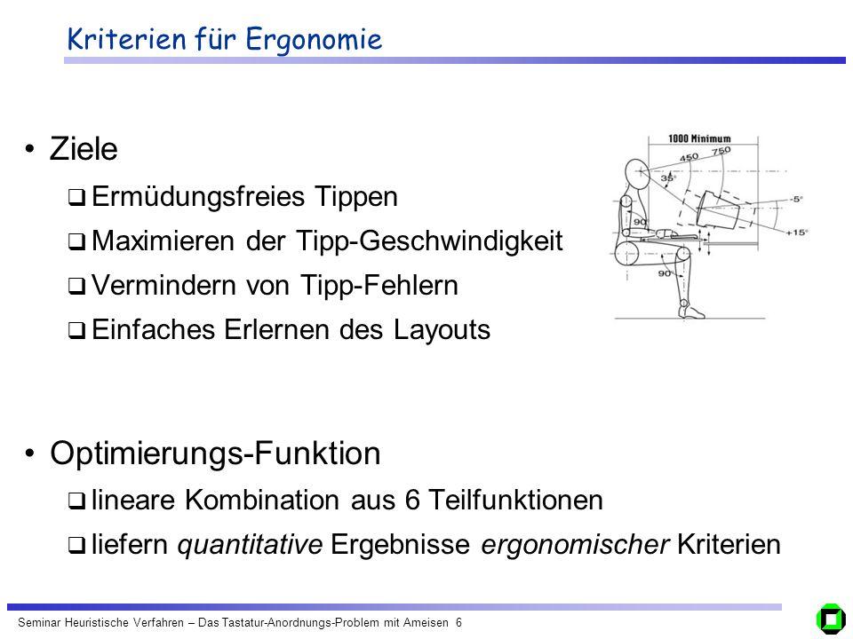 Kriterien für Ergonomie