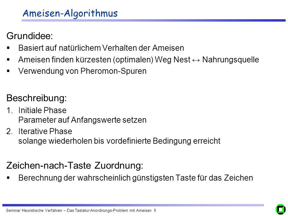 Zeichen-nach-Taste Zuordnung: