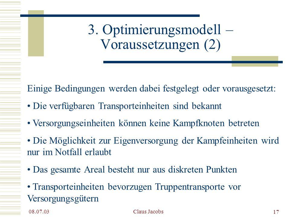 3. Optimierungsmodell – Voraussetzungen (2)