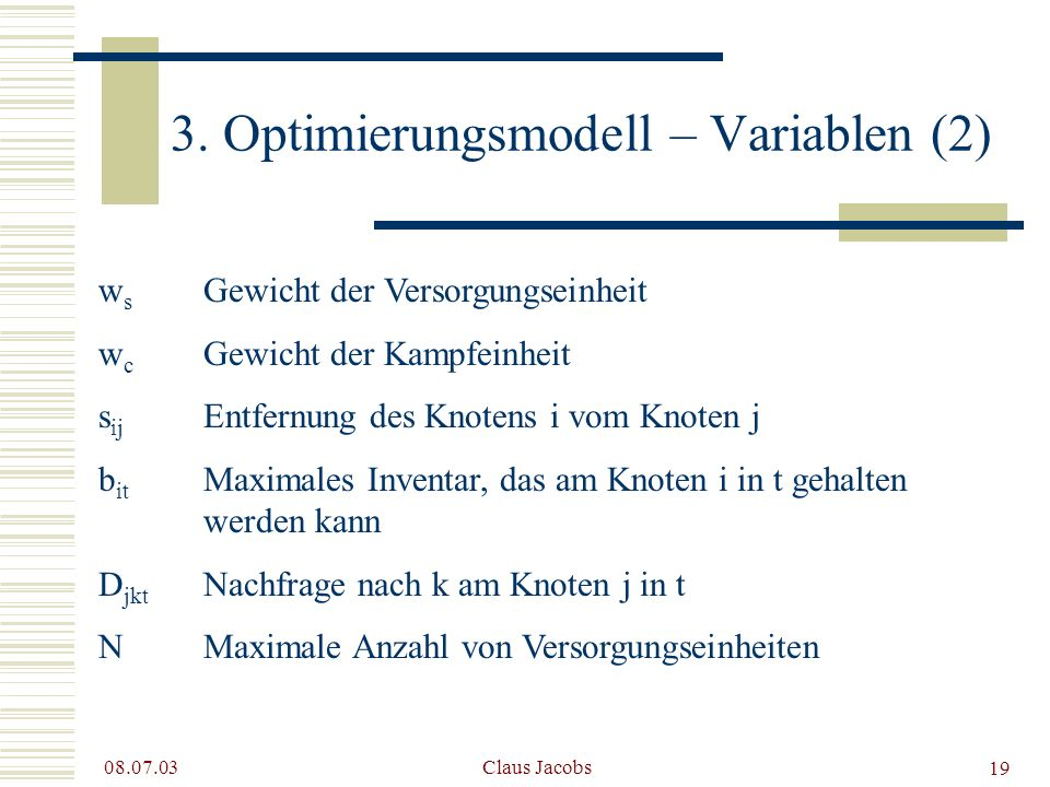3. Optimierungsmodell – Variablen (2)