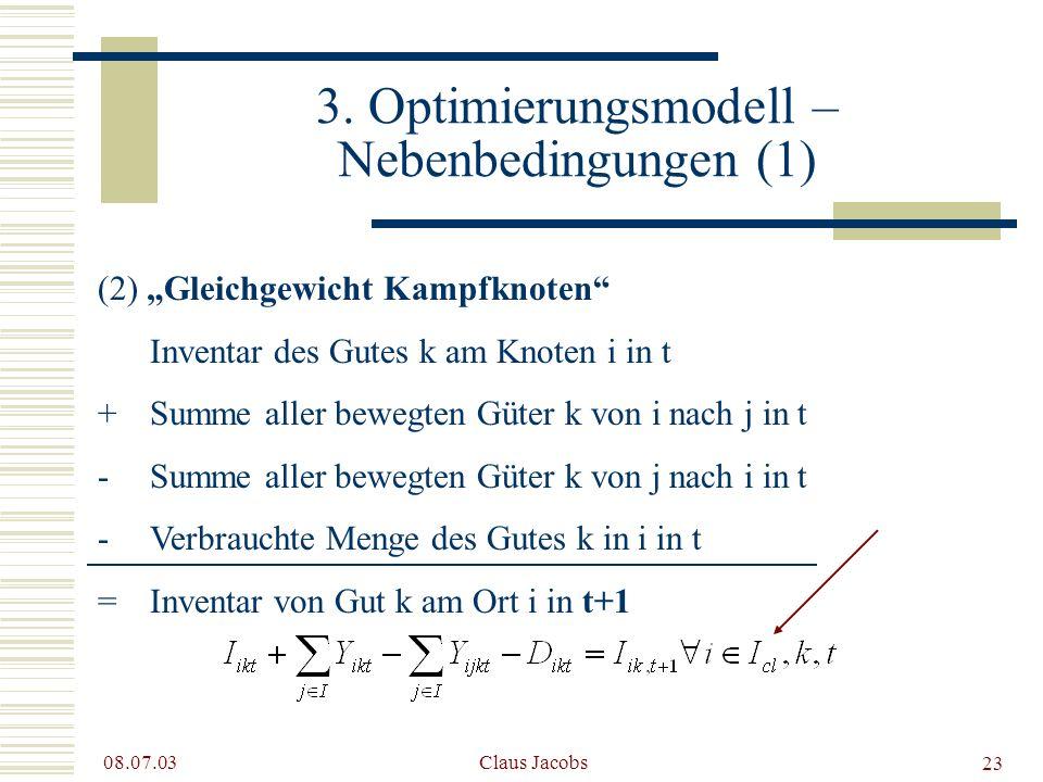 3. Optimierungsmodell – Nebenbedingungen (1)