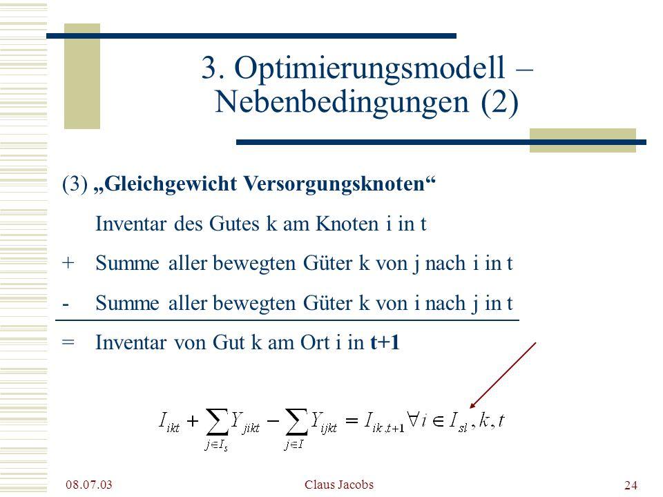 3. Optimierungsmodell – Nebenbedingungen (2)